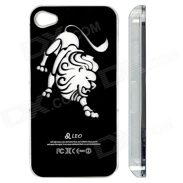 ZH01 Leo Pattern LED Flash Light Protective ABS Back Case for IPHONE 4 / 4S - Black (1 x CR2016) leo lionni it s mine