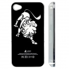 ZH01 Leo Pattern LED Flash Light Protective ABS Back Case for IPHONE 4 / 4S - Black (1 x CR2016)