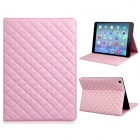 Soft Grid Pattern Protective PU Leather + TPU Case Cover Stand for IPAD AIR - Pink