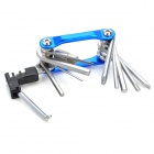 Multifunction Portable Stainless Steel Bike Repair Tool - Blue + Silver