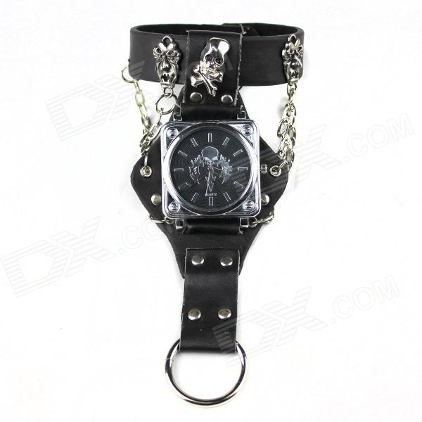 Punk Skull Ring Style Men's Quartz Analog Watch - Black + Silver (1 x CR2012)
