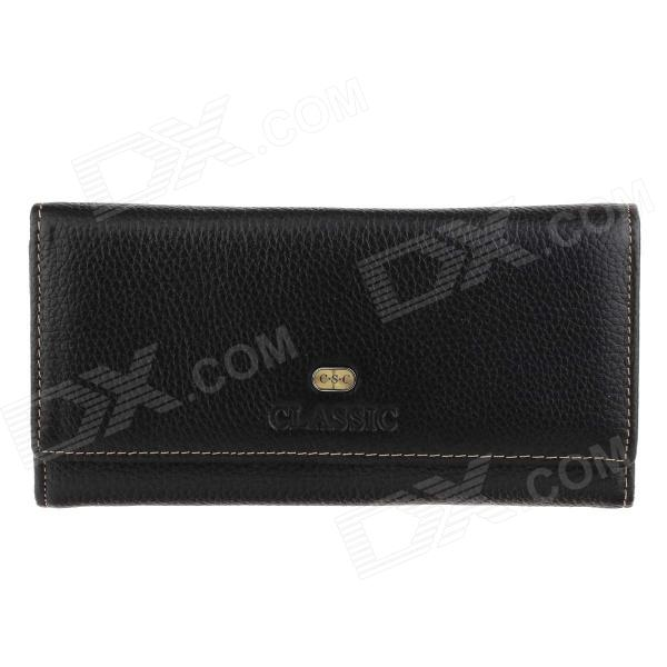 C.S.C LA702C2 Stylish Long Pattern Unisex Head Layer Cowhide Purse Wallet - Black