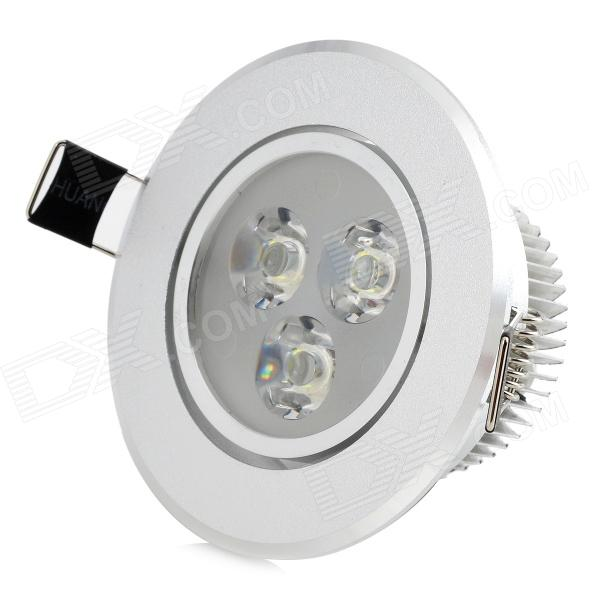 HYDF 3W 300lm 6500K 3-LED White Light Ceiling Bulb w/ LED Driver - Silver (AC 100~240V)