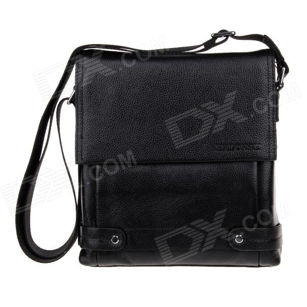 HRLONSI 8321 Fashion Head Layer Cowhide High-Grade Men's Magnetic Cover Business Bag - Black