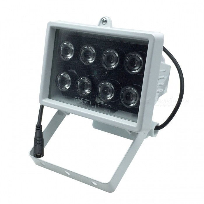 Surveillance Cameras 8-LED Infrared Fill Light - WhiteOther Security Products<br>Form ColorWhiteMaterialAluminum + harden glassQuantity1 DX.PCM.Model.AttributeModel.UnitPower SupplyOthers,DC 12VBattery included or notNoPower AdaptornoPower AdapterOthers,DC 12VRate Voltage12VRated Current2 DX.PCM.Model.AttributeModel.UnitOther FeaturesWorking temperature: -10C~50C; Humidity: RH 95% Max; Wavelength: 850nm; Storage environment: -20C~60C RH 95%; Projection distance: 70m; IR switch control; Projection angles: 45 degreePacking List1 x Infrared fill light (50cm-cable)<br>