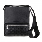 HRLONSI 2825 Woven Mesh Texture Head Layer Cowhide High-Grade Men's Magnetic Cover Business Bag