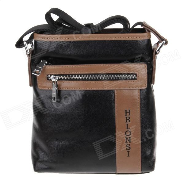 HRLONSI 83756 Fashion Head Layer Cowhide High-Grade Men's Business Bag - Black + Brown