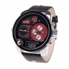BESNEW Fashion Round Case Men's Three Time Zones Display Wrist Watch - Black + Red (1 x LR626)