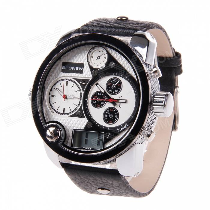 BESNEW Fashion Round Case Men's Three Time Zones Display Wrist Watch - White + Black брюки eccentrica брюки зауженные