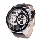 BESNEW Fashion Round Case Men's Three Time Zones Display Wrist Watch - White + Black