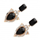 LM006 Fashion Women's Black Rhinestone Zinc Alloy Earrings - Black + Golden (Pair)