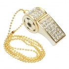 Creative Crystal World Cup Whistle Shaped Hi-speed USB 2.0 Flash Drive Disk - Golden + White (32GB)
