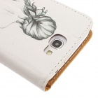 Kinston Art Figure Pattern PU Leather Case Cover for Samsung Galaxy Note 2 N7100 - White + Black