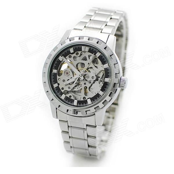 WEILONG892 Fashionable Men's Automatic Mechanical Hollow Watch - Silver + Black