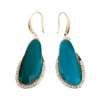 LM004 Fashion Women's Rhinestone Zinc Alloy Earrings - Golden + Lake Blue (Pair)