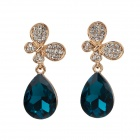 LM001 Stylish Big Water Drop Style Zinc Alloy + Rhinestone Women's Earrings - Golden + Dark Green