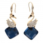 LM001 Stylish Swan Style Zinc Alloy + Rhinestone Women's Earrings - Golden + Blue (Pair)