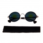 20 Retro Round Glasses UV400 Protection Reflective Sunglasses - Black + Blue