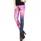 Elonbo Galaxy Fashion Women's Sexy High Waisted Stretchy Leggings Tights Pants - Pink + Black