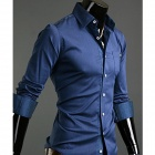 Fashionable Men's Slim Pure Wild Long-sleeved Shirt - Blue (Size-XL)