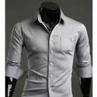 Fashionable Men's Slim Pure Wild Long-sleeved Shirt - Light Gray (Size-XL)