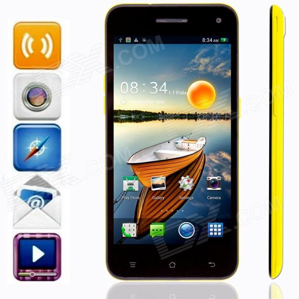 KICCY 6.9mm Ultra-thin Quad-core Android 4.2 WCDMA Bar Phone w/ 5.0 IPS, WIFI , GPS , OTG - Yellow m pai 809t mtk6582 quad core android 4 3 wcdma bar phone w 5 0 hd 4gb rom gps black