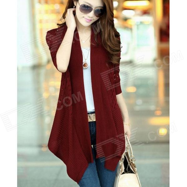XZY W5832 New Slim Fit Long-sleeved Cardigan - Wine Red (Free Size)