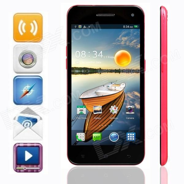 KICCY 6.9mm Ultra-thin Quad-core Android 4.2 WCDMA Bar Phone w/ 5.0 IPS, WIFI , GPS , OTG - Pink kiccy w900 quad core android 4 2 wcdma bar phone w 5 ips wi fi gps rom 4gb black