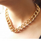 "Choker New Shiny Cut LIGHT GOLD Plated Chunky Aluminum Curb Chain Necklace - Golden Yellow (18"")"