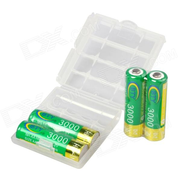 BTY Rechargeable 1.2V 3000mAh AA Ni-MH Battery w/ Plastic Case (4PCS)