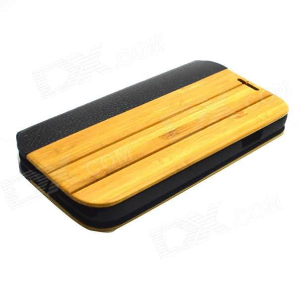 Protective PU Leather + PC + Bamboo Case Cover for Samsung Galaxy S4 i9500 - Wood + Black