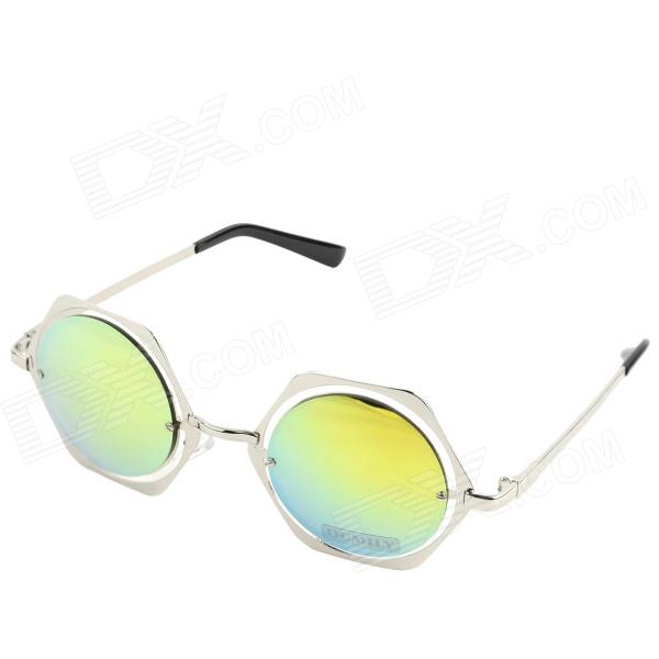 OUMILY New Arrival Rhombus Style Metal Colorful Reflective Sunglasses Toad Glasses - Silver