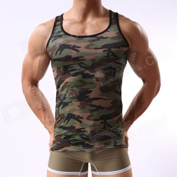 Fashion Military Style Mens Camouflage Vest - Camouflage Green (Size L) - DXUnderwear<br>Made of high quality soft and comfortable material. Camouflage design look stylish and dynamic.<br>