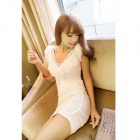 Flounced V-kaula riimu Package Hip Slim Dress - White (Ilmainen Koko)