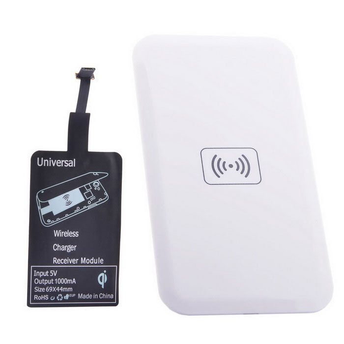 Reverse QI Wireless Charger Pad + Universal Wireless Receiver for Micro-USB Cellphone - White positive qi wireless charger pad universal wireless receiver for micro usb cellphone white