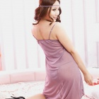 8166 Sexy Spandex Sleep Dress w/ T-Back - Light Purple (Free Size)