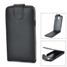 Protective PU + PC Top Flip Open Case w/ Card Slot for Samsung S5 - Black