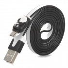 Penguin Style USB to Micro USB Data/Charging Flat Cable for Samsung i9500 / N7100 / i9300 - White