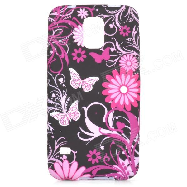Butterfly & Flower Style Protective Silicone Back Case for Samsung Galaxy S5 - Black + Pink