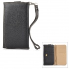 Wallet Style Protective PU Leather Case w/ Card Holder Slots for Samsung Galaxy S3 / S4 / S5 - Black