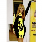 WS-2650 Fashionable Cotton Blended Long Sleeves Dress - Black + Yellow (Size M)