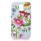 Flowers Pattern Protective Silicone Back Case for Samsung Galaxy S5 - White + Multicolored