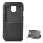 Protective PU Leather + Plastic Case w/ Stand / Window for Samsung Galaxy S5 - Black