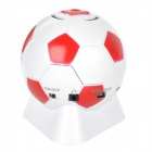 Fashion Football Style 3.5mm Speaker w/ FM / TF for Mobile Phone / Computer - White + Red