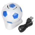 Fashion Football Style 3.5mm Speaker w/ FM / TF for Mobile Phone / Computer - White + Blue