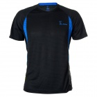 Protective 3325B Short Sleeves Quick-Dry Elastic Polyester T-Shirt for Men - Blue + Deep Grey (L)