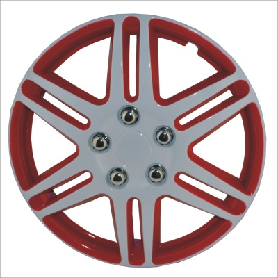 14 Inch ABS Car Wheel Hub Cover - Red + Silver (4 PCS)