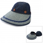 ZEA327-1M Stylish Sunblock Anti-UV Sun Hat w/ Detachable Cap - Navy Blue