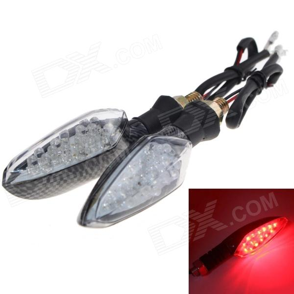 Waterproof 1W 112lm 16-LED Motorcycle Red Light Steering Lamp - (12V / 2 PCS)
