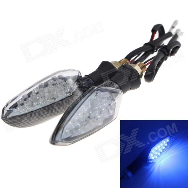 Waterproof 1W 112lm 16-LED Motorcycle Blue Light Steering Lamp - (12V / 2 PCS)